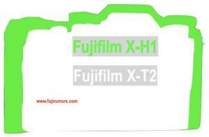 ボディサイズ比較[緑:X-H1 / 白:X-T2s]