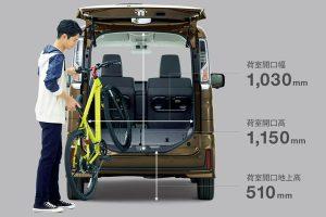 荷室の大きさ寸法[新型2017 スペーシア 自転車積載]