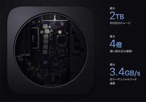 SSDストレージ最大2TB[2018 新型 Mac mini スペック]