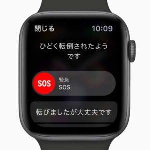 転倒検出機能:自動緊急 SOS[Apple Watch]